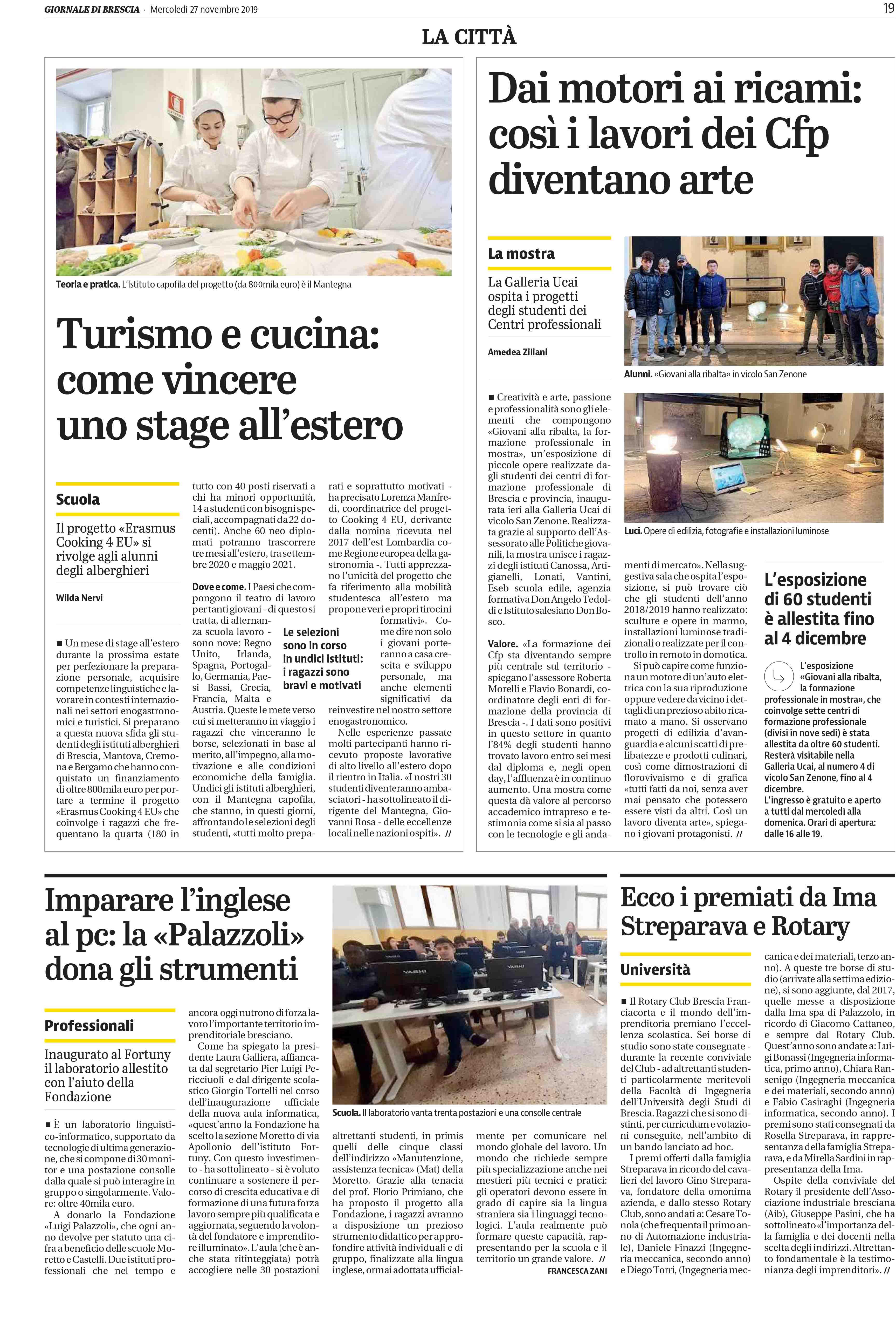 Dai motori ai ricami: cosi i lavori dei Cfp diventano arte - Giornale di Brescia